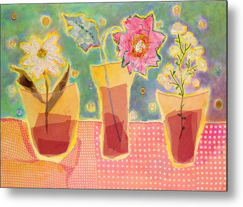 Flowers In A Glass Metal Print featuring the mixed media Buttons by Diane Fine