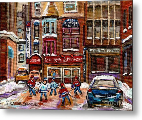 Restaurants Metal Print featuring the painting Cafe Bistro La Marinara by Carole Spandau