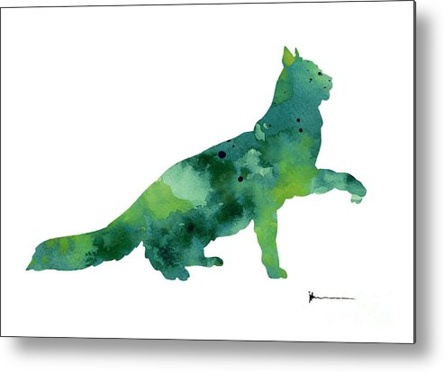 Cat Metal Print featuring the painting Cat Silhouette Print Watercolor Poster by Joanna Szmerdt