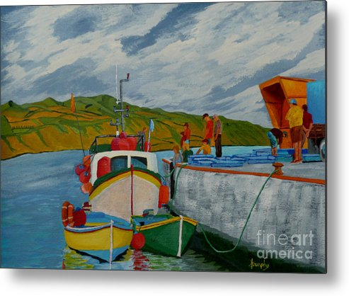 Boats Metal Print featuring the painting Catch Of The Day by Anthony Dunphy