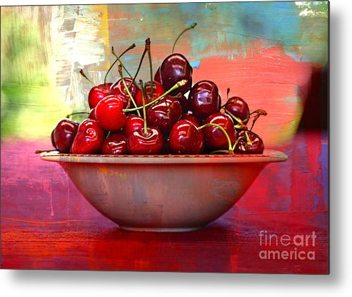 Cherries Metal Print featuring the photograph Cherries On The Table With Textures by Carol Groenen