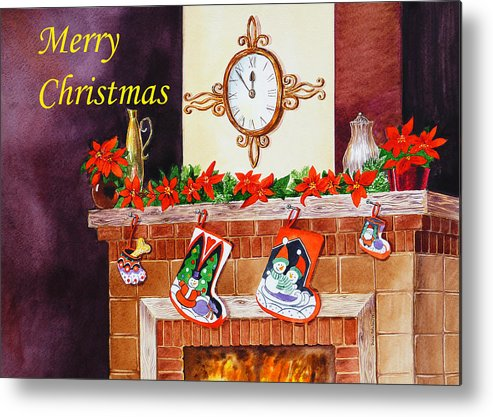 Christmas Metal Print featuring the painting Christmas Card by Irina Sztukowski