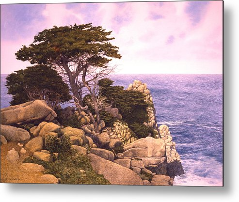 Seascape Metal Print featuring the painting Coast At Lobos by Tom Wooldridge