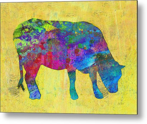 Cow Metal Print featuring the painting Colorful Cow Abstract Art by Ann Powell