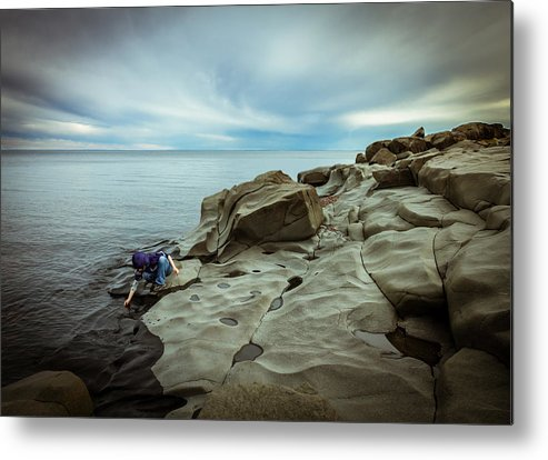 magic To The Touch lake Superior brighton Beach Duluth Nature greeting Cards northern Minnesota north Shore child human Element landscape Clouds Beach Magic Nature Metal Print featuring the photograph Cool To The Touch by Mary Amerman