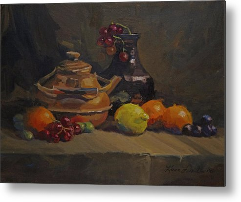 Oil Metal Print featuring the painting Copper Tea Pot And Fruit by Karen Fess