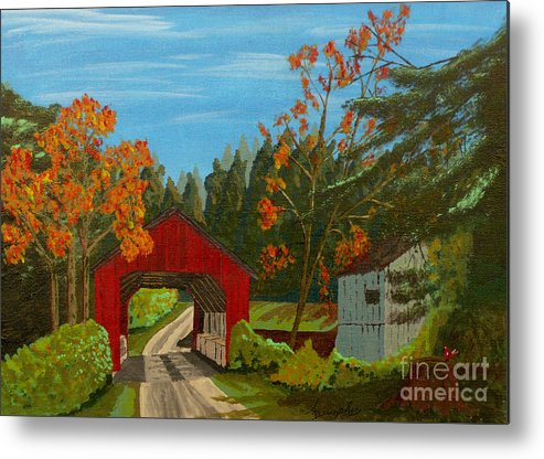 Path Metal Print featuring the painting Covered Bridge by Anthony Dunphy