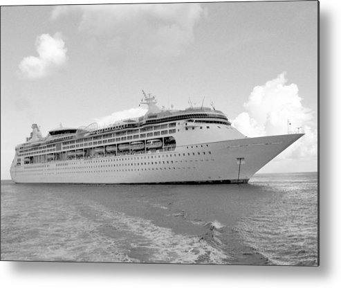 Anchor Metal Print featuring the photograph Cruise Ship Bw by Scenic Sights By Tara