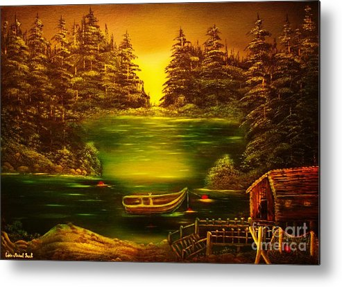 Fisherman Metal Print featuring the painting Fishermans Cabin-original Sold- Buy Giclee Print Nr 32 Of Limited Edition Of 40 Prints by Eddie Michael Beck