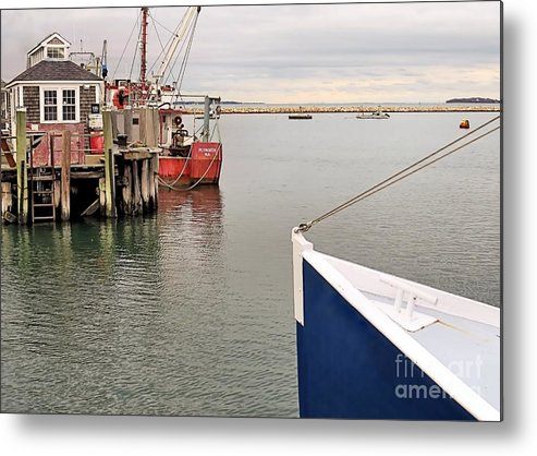Fishing Boats Metal Print featuring the photograph Fishing Boats At Pier by Janice Drew