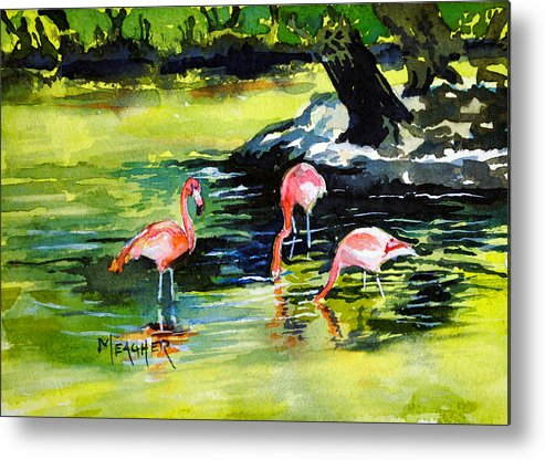 Flamingo Metal Print featuring the painting Flamingos At The St Louis Zoo by Spencer Meagher
