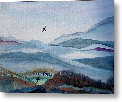 Birds Metal Print featuring the painting Flight At Dawn by Susan Duxter