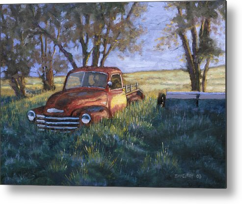 Pickup Truck Metal Print featuring the painting Forgotten But Still Good by Jerry McElroy