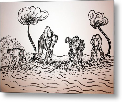 Metal Print featuring the painting Gathering Potatoes by Paul Morgan