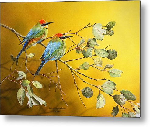 Gum Trees Metal Print featuring the painting Here Comes The Sun - Rainbow Bee-eaters by Frances McMahon