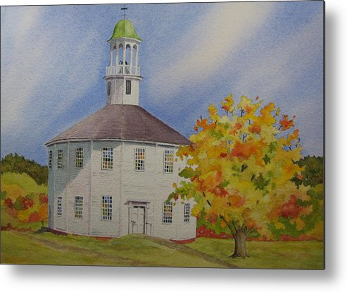 Richmond Metal Print featuring the painting Historic Richmond Round Church by Mary Ellen Mueller Legault