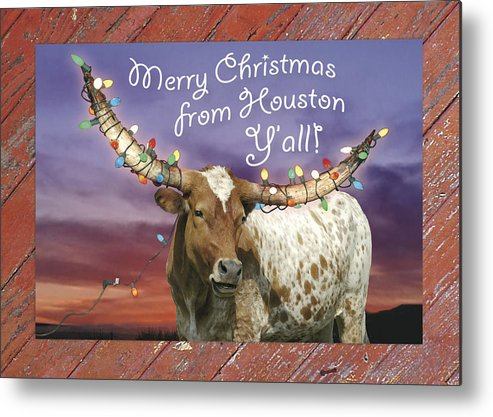 Christmas Metal Print featuring the photograph Houston Christmas Card by Robert Anschutz