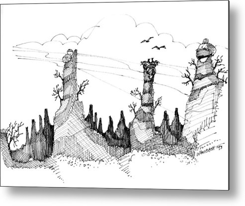 Rock Formations Metal Print featuring the drawing Imagination 1993 - Eagles Over Desert Rocks by Richard Wambach