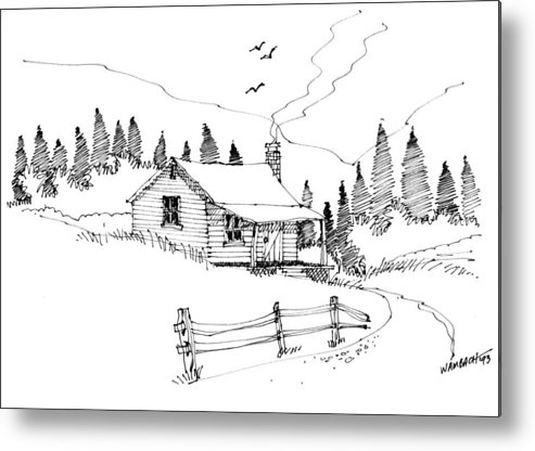 Mountains Metal Print featuring the drawing Imagination 1993 - Mountain Cabin by Richard Wambach
