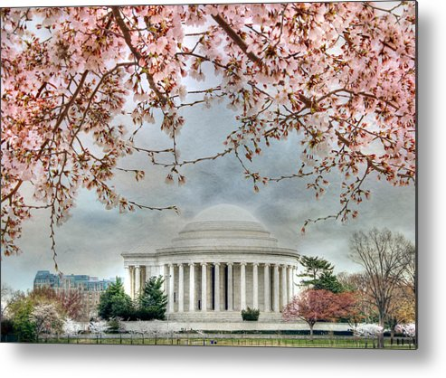 Jefferson Memorial Metal Print featuring the photograph Jefferson Blossoms by Lori Deiter
