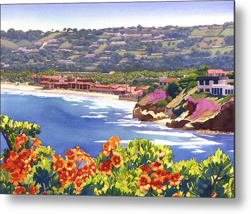 La Jolla Metal Print featuring the painting La Jolla Beach And Tennis Club by Mary Helmreich