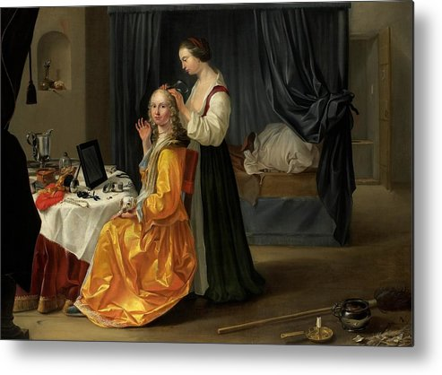 Lady Metal Print featuring the painting Lady At Her Toilet by Netherlandish School