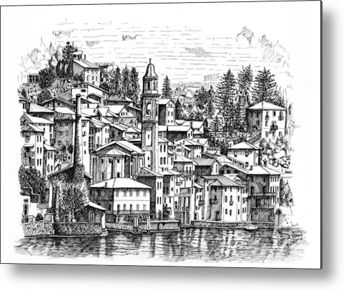 Metal Print featuring the drawing Lago Di Como-brienno by Franko Brkac