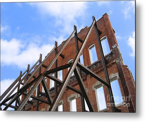 Demolition Metal Print featuring the photograph Last Wall Standing by Ann Horn