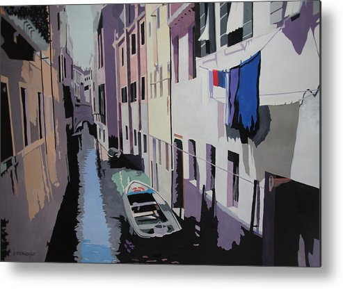 Painting Metal Print featuring the painting Laundry by Kristin Stashenko