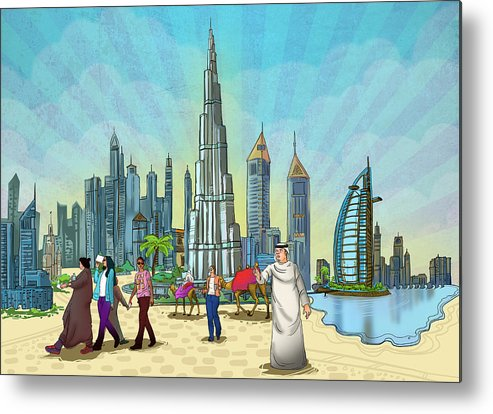 Illustration Metal Print featuring the mixed media Life In Dubai by Art Tantra
