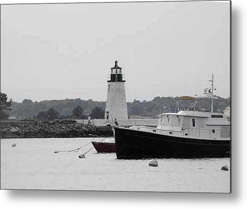 Black And White Photography Metal Print featuring the photograph Lighthouse Calming Effect by Catherine Ratliff