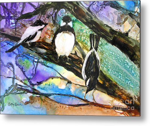 Birds Metal Print featuring the painting Look Ma by Betsy Bear