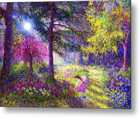 Woodland Metal Print featuring the painting Morning Dew by Jane Small