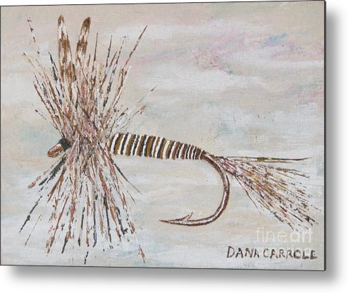 Fishing Metal Print featuring the painting Mosquito Dry Fly by Dana Carroll