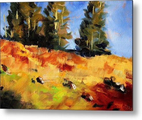 Oregon Metal Print featuring the painting Mountain Hillside by Nancy Merkle