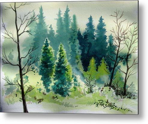 Trees Metal Print featuring the painting Near Camp by David Parsons