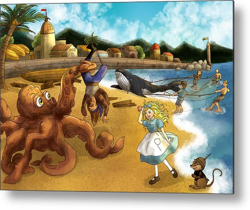Wurtherington Metal Print featuring the painting Nellie The Octopus by Reynold Jay