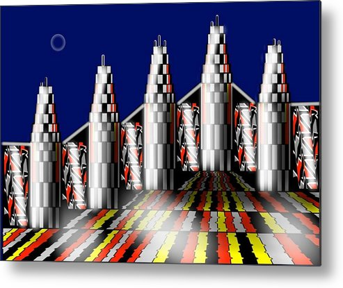 City Metal Print featuring the digital art New Age by Carol Shoemaker