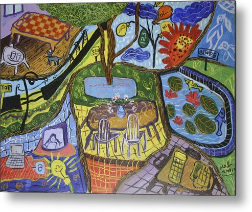 Tables Metal Print featuring the painting New Art by Goldy Berry Rod