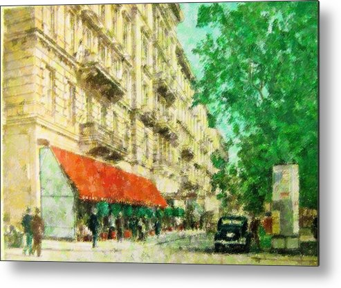 New York Metal Print featuring the mixed media New York In The Forties by Florene Welebny