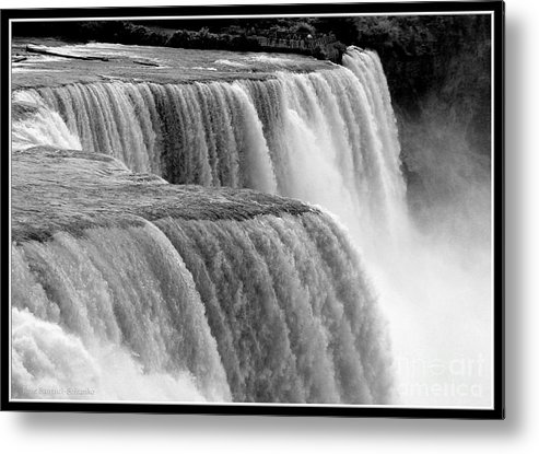 Black And White Metal Print featuring the photograph Niagara Falls In Black And White by Rose Santuci-Sofranko
