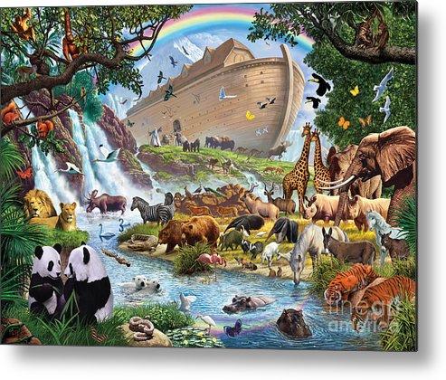 Animal Metal Print featuring the digital art Noahs Ark - The Homecoming by Steve Crisp