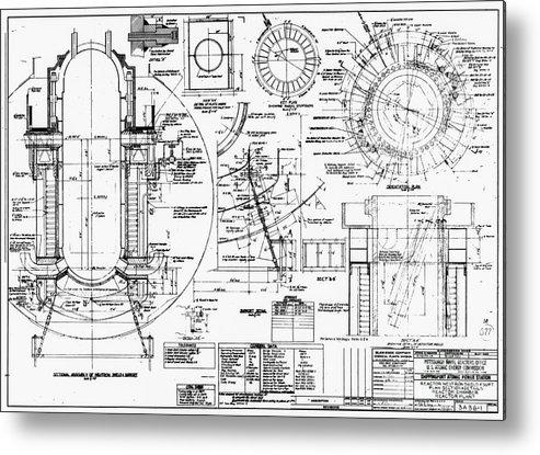 machine metal print featuring the photograph nuclear power plant components,  diagram by library of congress