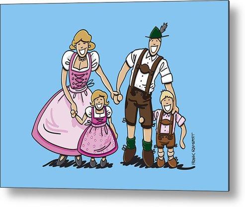 Frank Ramspott Metal Print featuring the digital art Oktoberfest Family Dirndl And Lederhosen by Frank Ramspott