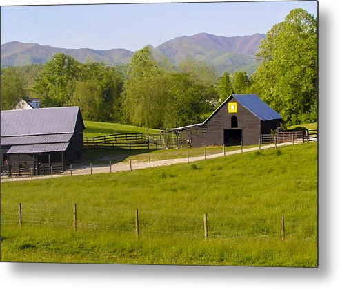Blue Metal Print featuring the photograph Painted Barn Quilt Two And A Half by Robert J Andler
