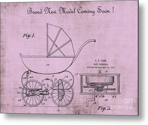 1920 Metal Print featuring the digital art Patent Art Baby Carriage 1920 Lark Invite 4 by Lesa Fine
