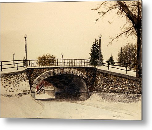 Snow Metal Print featuring the painting Patterson Creek Bridge by Betty-Anne McDonald