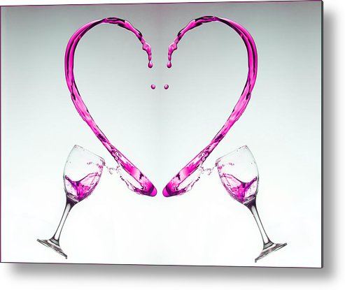 Wine Metal Print featuring the photograph Pink Heart by John Sprague