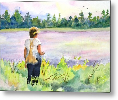 Woman Metal Print featuring the painting Promise Of Spring. by Barbara Jung