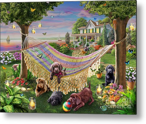 Adrian Chesterman Metal Print featuring the digital art Puppies And Butterflies by Adrian Chesterman